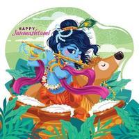Feier des Janmashtami mit Lord Krishna, der mit dem Flötenkonzept spielt vektor