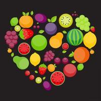 Apfel, Orange, Pflaume, Kirsche, Zitrone, Limette, Wassermelone, Erdbeeren, Kiwi, Pfirsiche, Trauben und Birne in Form eines Herzens. Liebe Früchte Konzept vektor