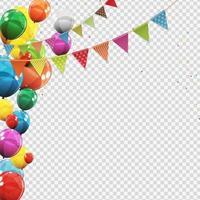 Gruppe von farbig glänzenden Heliumballons isoliert. Satz Luftballons und Flaggen für Partydekorationen zur Geburtstagsfeier vektor