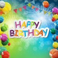 Gruppe von farbig glänzenden Heliumballons Hintergrund. Satz Luftballons und Flaggen für Geburtstagsfeier, Partydekorationen vektor