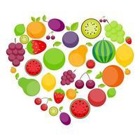 Apfel, Orange, Pflaume, Kirsche, Zitrone, Limette, Wassermelone, Erdbeeren, Kiwi, Pfirsiche, Trauben und Birne in Form eines Herzens vektor