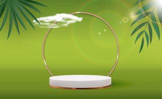 weißer 3d Sockelhintergrund mit goldenem Glasring, Rahmen realistische Palmblätter für kosmetisches Produktpräsentationsmodemagazin vektor