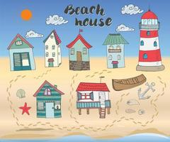 Strandhütten und Bungalows handgezeichnete Umrissfarbe Gekritzel gesetzt mit Leuchtturm Holzboot und Anker Muscheln und Schritte auf Sandstrand Vektor-Illustration vektor