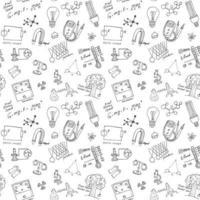 Nahtloses Muster der Physik und der Wissenschaft mit handgezeichneten Kritzeleienhintergrundvektorillustration der Skizzenelemente vektor