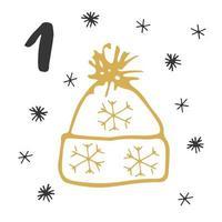 Weihnachts Adventskalender. handgezeichnete Elemente und Zahlen. Winterferien-Kalenderkartenentwurf, Vektorillustration vektor