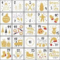 Weihnachts Adventskalender. handgezeichnete Elemente und Zahlen. Winterferien Kalender Karten Set Design, Vektor-Illustration vektor