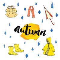 Herbstsaison eingestellt. handgezeichnete Kritzeleien und Beschriftungsvektorillustration. vektor