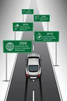 Designvorlage Sportwagen auf dem Weg entlang der Zeitachse Vektor-Illustration vektor