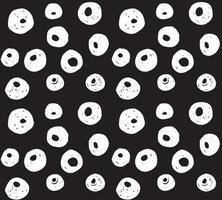 Hand gezeichnete schwarze Pinselkreise und Punkte nahtloses Muster, Vektorillustration vektor
