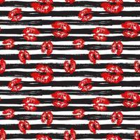 Kuss, Lippen nahtlosen Musterhintergrund. Vektorillustration lokalisiert auf Weiß. vektor
