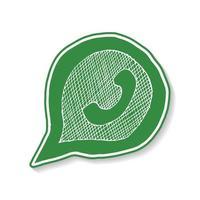 grünes Telefonhandgerät in der gezeichneten Ikone der Sprechblasenhand, Vektorillustration lokalisiert auf weißem Hintergrund. vektor