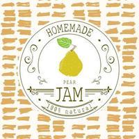 Marmeladenetikett Designvorlage. für Birnen-Dessert-Produkt mit handgezeichneten skizzierten Früchten und Hintergrund. Gekritzel Vektor Birne Illustration Markenidentität