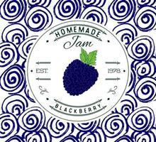 Marmeladenetikett Designvorlage. für Brombeer-Dessert-Produkt mit handgezeichneten skizzierten Früchten und Hintergrund. Gekritzelvektor Brombeerillustration Markenidentität vektor