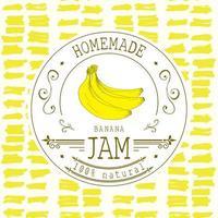 Marmeladenetikett Designvorlage. für Bananendessertprodukt mit handgezeichneten skizzierten Früchten und Hintergrund. Gekritzel Vektor Banane Illustration Markenidentität