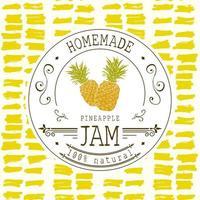 Marmeladenetikett Designvorlage. für Ananas-Dessert-Produkt mit handgezeichneten skizzierten Früchten und Hintergrund. Gekritzel Vektor Ananas Illustration Markenidentität