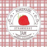 Marmeladenetikett Designvorlage. für Erdbeerdessertprodukt mit handgezeichneten skizzierten Früchten und Hintergrund. Gekritzelvektor Erdbeerillustration Markenidentität vektor