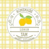 Marmeladenetikett Designvorlage. für Zitronendessertprodukt mit handgezeichneten skizzierten Früchten und Hintergrund. Gekritzel Vektor Zitrone Illustration Markenidentität