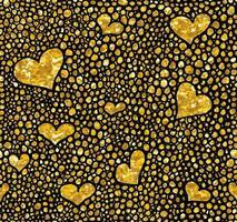 Hand gezeichnetes gepunktetes nahtloses Goldglitzermuster. Pinselherts und Punkte nahtloses Muster, Vektorillustration vektor