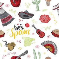 spanien nahtlose muster kritzeln elemente, hand gezeichnete skizze spanisch traditionelle gitarren, kleid und musikinstrumente, karte von spanien und beschriftung - hola spanien. Vektor-Illustration Hintergrund vektor