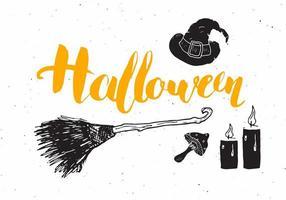 Halloween-Grußkarte. Schriftzug Kalligraphie Zeichen und Hand gezeichnete Elemente, Party Einladung oder Urlaub Banner Design Vektor-Illustration vektor