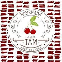Marmeladenetikett Designvorlage. für Kirschdessertprodukt mit handgezeichneten skizzierten Früchten und Hintergrund. Gekritzel Vektor Kirsche Illustration Markenidentität