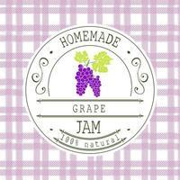 Marmeladenetikett Designvorlage. für Traubendessertprodukt mit handgezeichneten skizzierten Früchten und Hintergrund. Gekritzel Vektor Traube Illustration Markenidentität