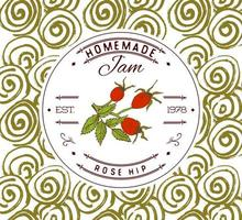 Marmeladenetikett Designvorlage. für Hagebutten-Dessertprodukt mit handgezeichneten skizzierten Früchten und Hintergrund. Gekritzel Vektor Hagebutte Illustration Markenidentität