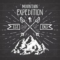 Retro-Abzeichen des Vintage-Labels der Bergexpedition. Hand gezeichnete strukturierte Emblem Outdoor-Wanderabenteuer und Berge erkunden, Extremsportarten, Grunge Hipster Design, Typografie drucken Vektor-Illustration vektor