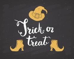 Halloween-Grußkarte. Schriftzug Kalligraphie Zeichen und Hand gezeichnete Elemente, Party Einladung oder Urlaub Banner Design Vektor-Illustration auf Tafel Hintergrund vektor