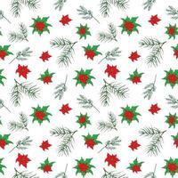 Hand gezeichnete Pflanzen des Neujahrs und der Weihnachten, Weihnachtssternblumen und nahtloser Musterhintergrund der Tannenzweige. Vektorillustration lokalisiert auf Weiß. vektor