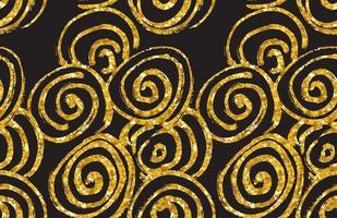 handgezeichnetes nahtloses Goldglitzermuster. nahtloses Muster der abstrakten Spirale, Vektorillustration vektor