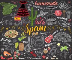 Spanien Hand gezeichnete Skizze Set Vektor-Illustration Tafel vektor