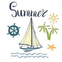 Sommervektorillustration, Yacht, Anker, Marineobjekte und Beschriftung. vektor