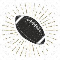 Vintage-Etikett Fußball, Rugbyball, handgezeichnete Skizze, strukturiertes Retro-Abzeichen Grunge, Typografie-Design-T-Shirt-Druck, Vektorillustration vektor