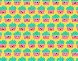 lyckligt smiley cupcake sömlöst mönster vektor
