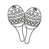 Maracas mexikanische Kultur Linie Stilikone vektor