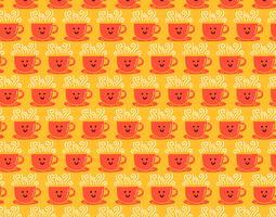 smiley kaffekopp sömlöst mönster vektor