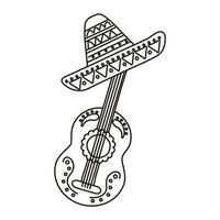Gitarre mit traditioneller mexikanischer Hutlinie Stilikone vektor