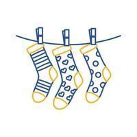 Down-Syndrom-Socken hängen in Drahtlinien-Stilikone vektor