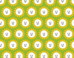 Smiley glückliches Blumenmuster vektor