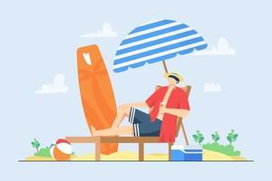 Ein Mann entspannt sich am Strand während der Sommerferien-Vektorillustrationsszene vektor