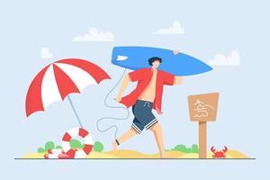 Ein Junge geht am Strand während der Sommerferien-Vektorillustrationsszene surfen vektor