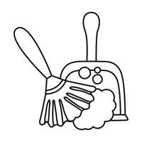 Picker- und Staubtuchwerkzeuge reinigen die flache Stilikone vektor