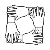 Hände Teamwork Linie Stil Symbol vektor