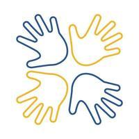Down-Syndrom Hände um Linie Stil-Symbol vektor