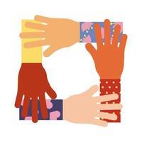 Hände Teamwork flache Stilikone vektor