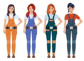 Frau Arbeiter Vektor-Design-Illustration isoliert auf weißem Hintergrund vektor