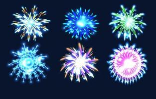 flache Illustration für Feuerwerk Icon Set vektor