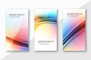 Abstrakt färgstarka banderoller sätta mall vektor