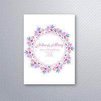 Dekoratives Blumenkartenschablone DES der schönen Hochzeitseinladung vektor